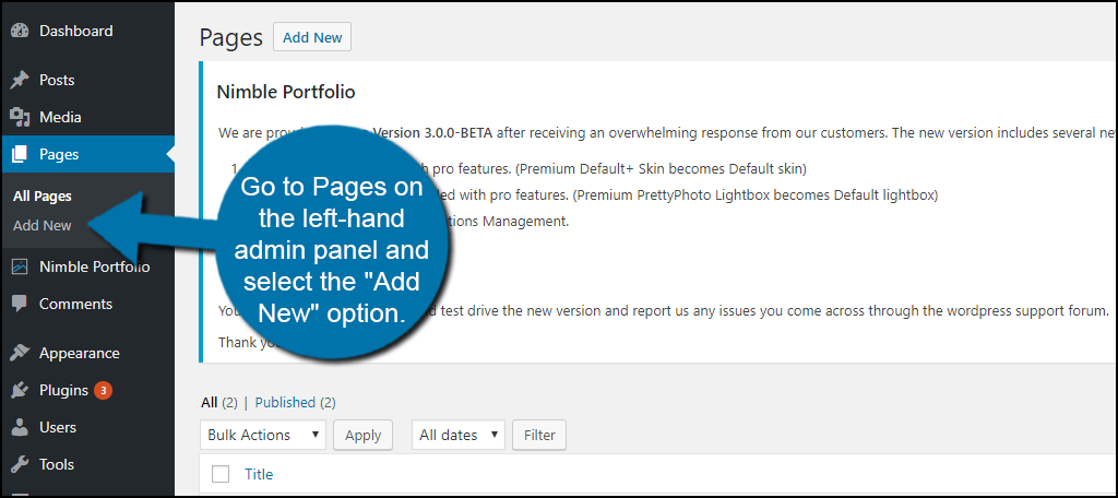 """Go to Pages on the left-hand admin panel and select the """"Add New"""" option."""