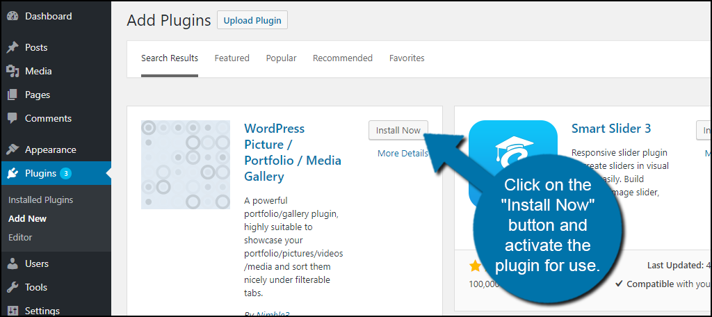 """Click on the """"Install Now"""" button and activate the plugin for use."""