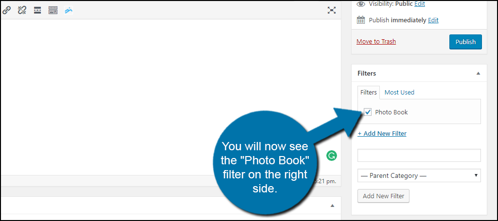 """You will now see the """"Photo Book"""" filter or what ever you named your filter on the right side."""