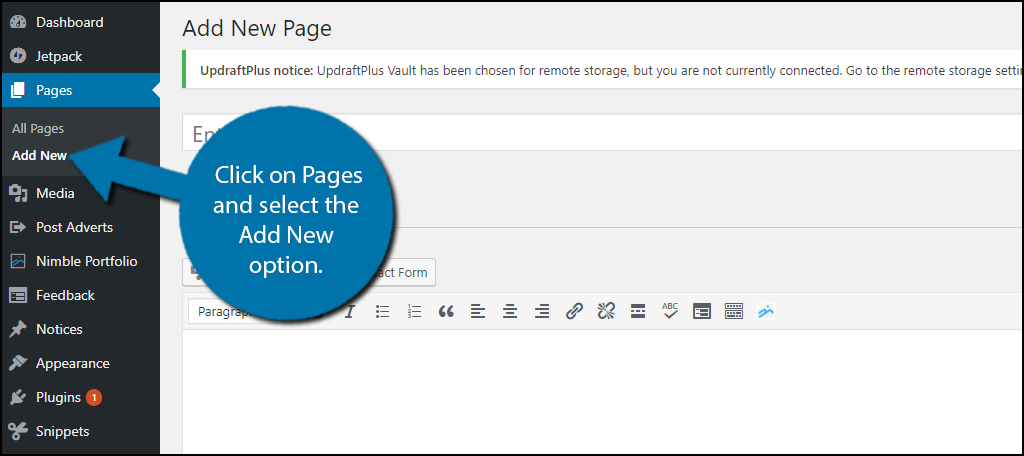Let's start by going to Pages on the left-hand admin panel and selecting the Add New option.