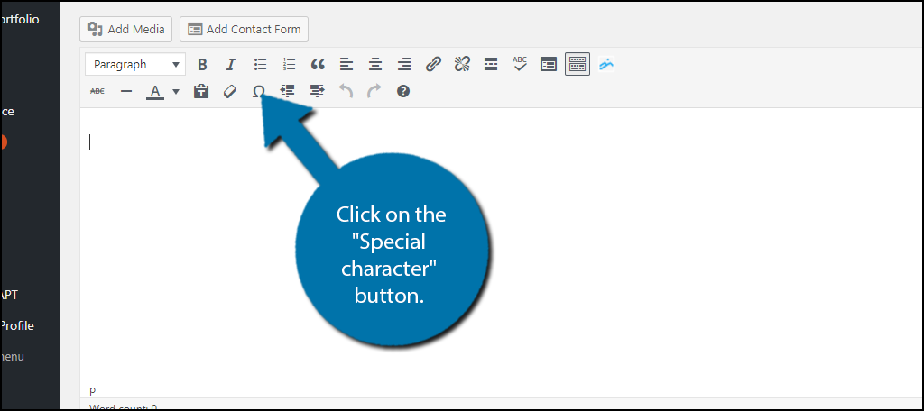 """Click on the """"Special character"""" button"""