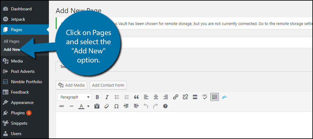 """click on Pages and select the """"AddNew"""" option."""