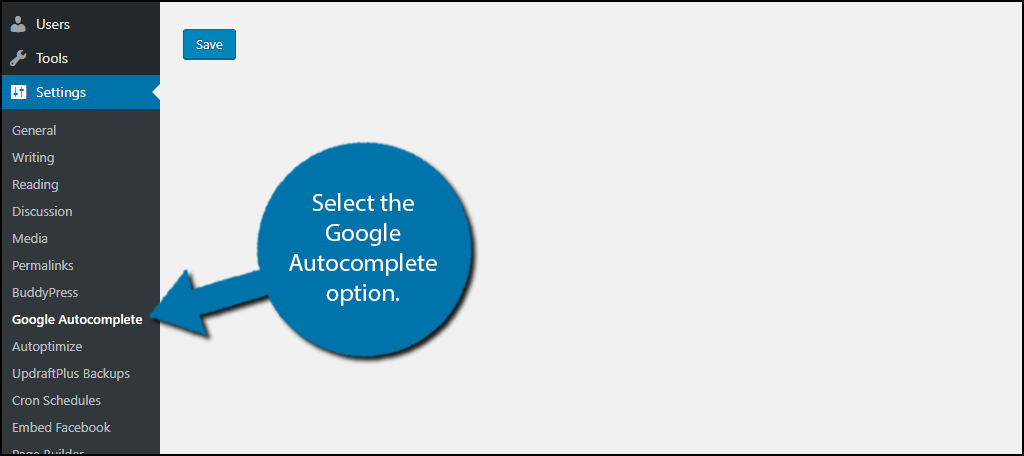 select the Google Autocomplete option