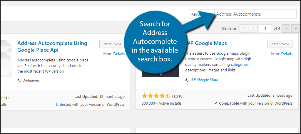 Search for Address Autocomplete in the available search box.