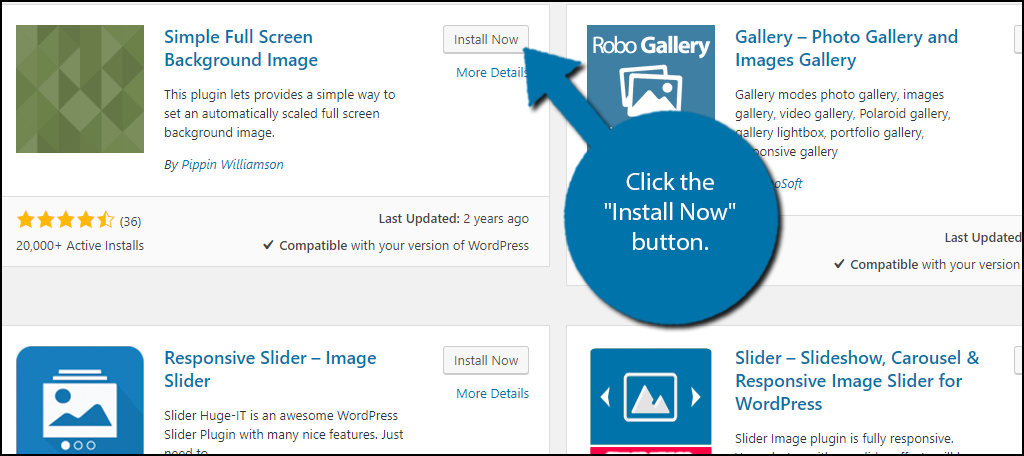 """click the """"Install Now"""" button"""