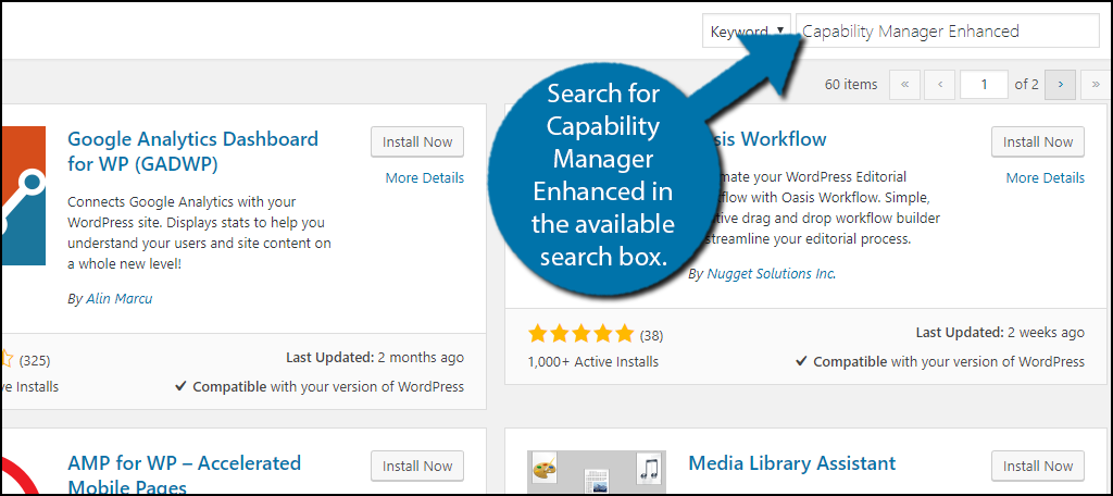 Search for CapabilityManager Enhanced in the available search box.