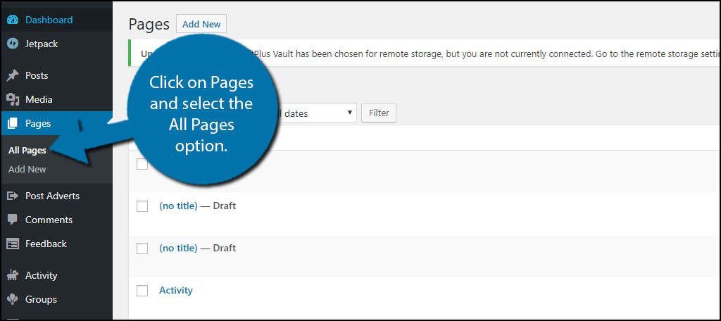 click on Pages and select the All Pages option.