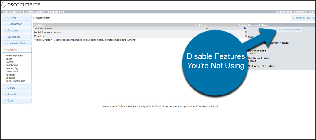 Disable Features