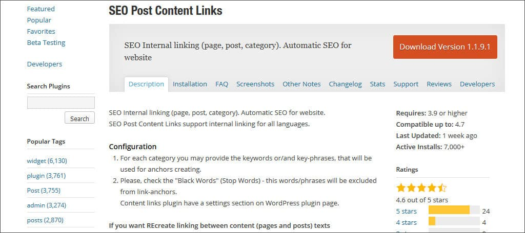 seo post content links plugin