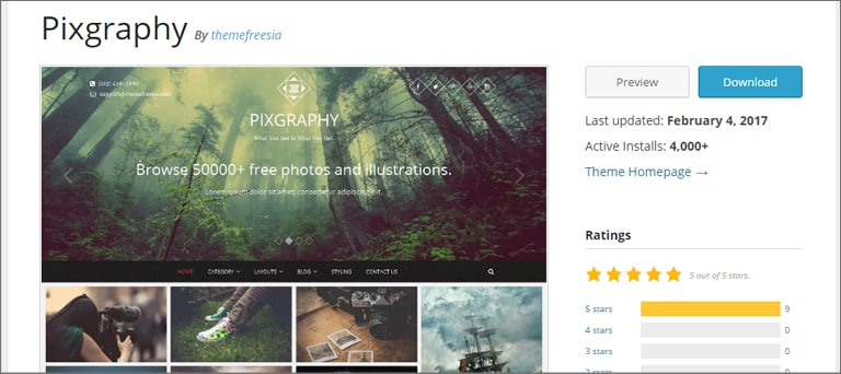 Pixgraphy Theme