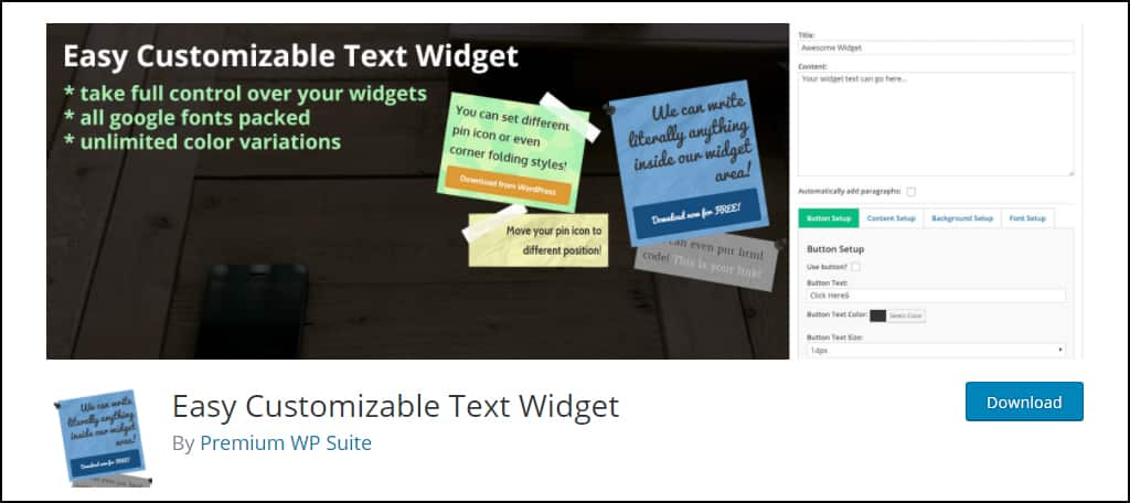 Easy Customizable Text Widget