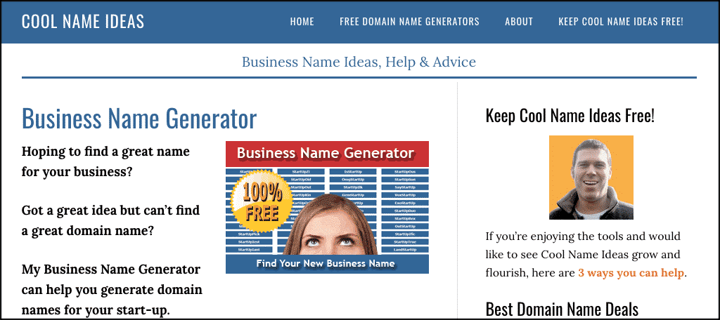 Cool name ideas domain name generator tool