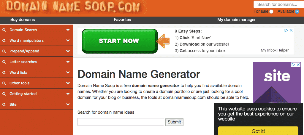 Domain name soup domain name generator tool