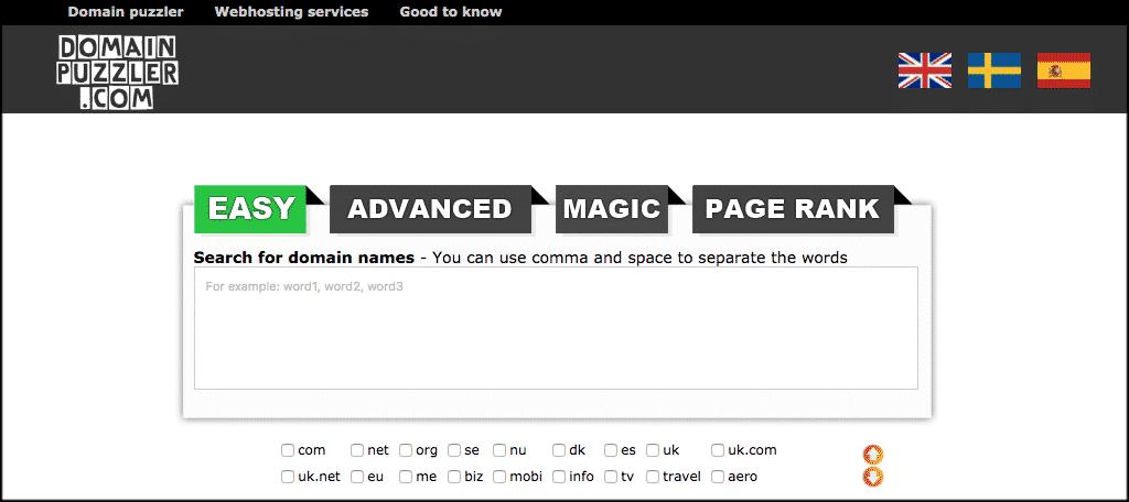 Domain puzzler domain name generator tool