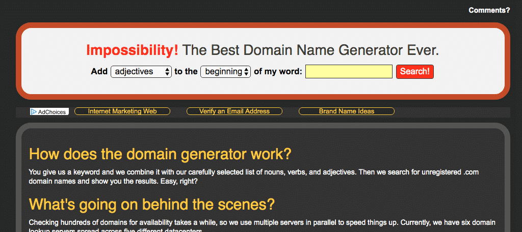 Impossibility domain name generator tool