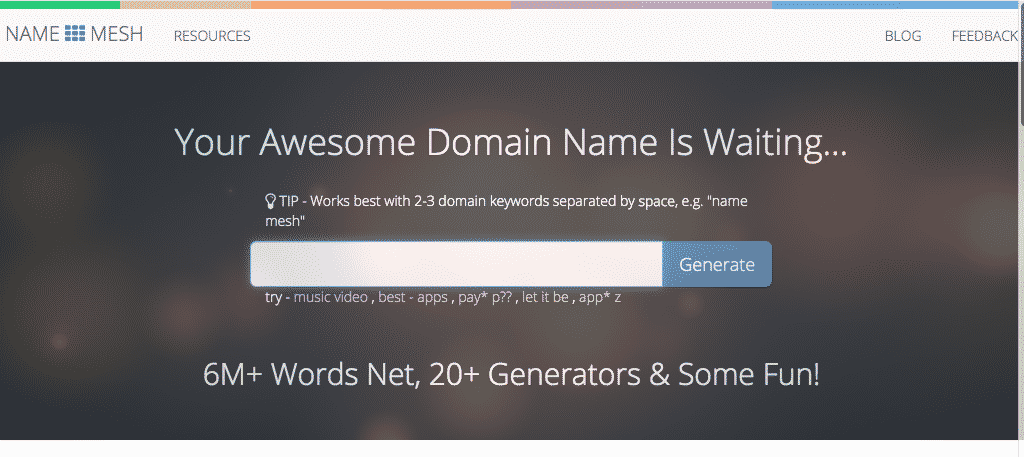 Namemesh domain name generator tool