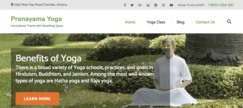 Pranayama wordpress fitness theme