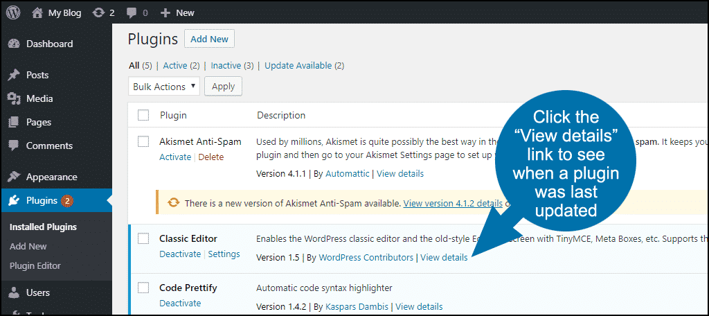 """click the """"View details"""" link for a plugin"""
