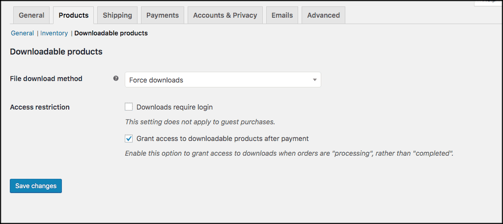 Downloadable woocommerce product settings