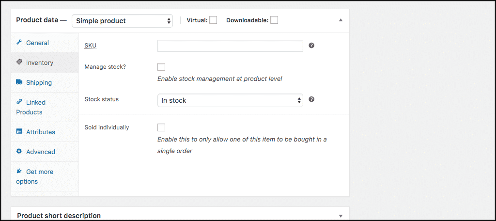 WooCommerce inventory tab