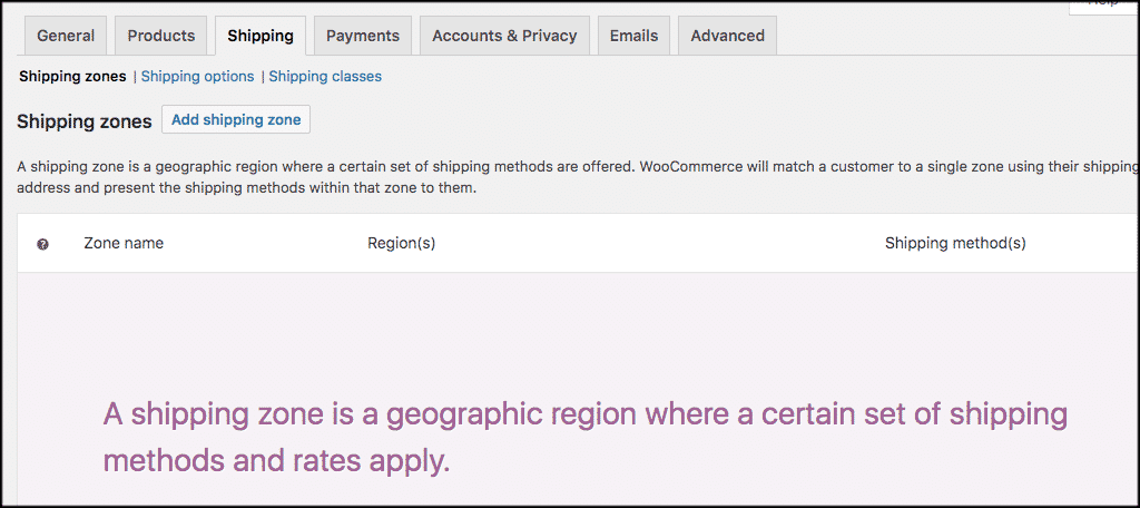 Woocommerce wordpress shipping zones