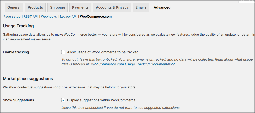 Woocommerce wordpresss website setup options