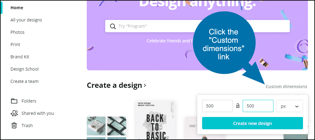 "click the ""Create a new design"" button"