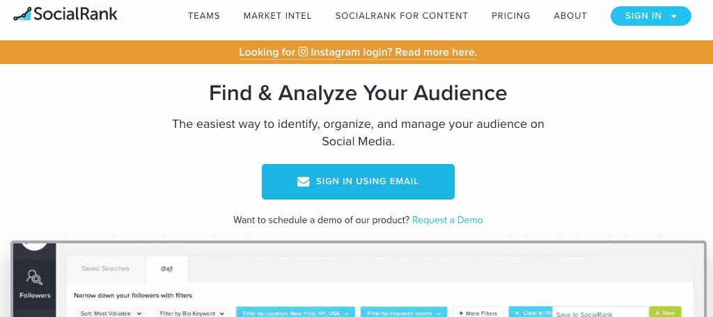 Social Rank social tracker