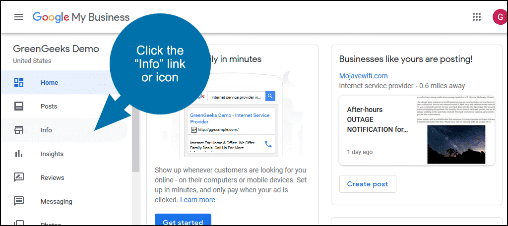 """click the """"Info"""" link"""