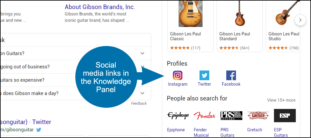 social media links in Knowledge Panel