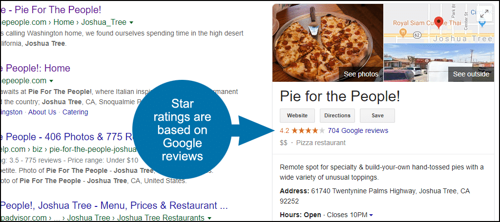 Google My Business star ratings are tied to reviews
