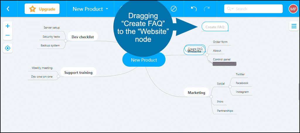 mind mapping application demo, move FAQ
