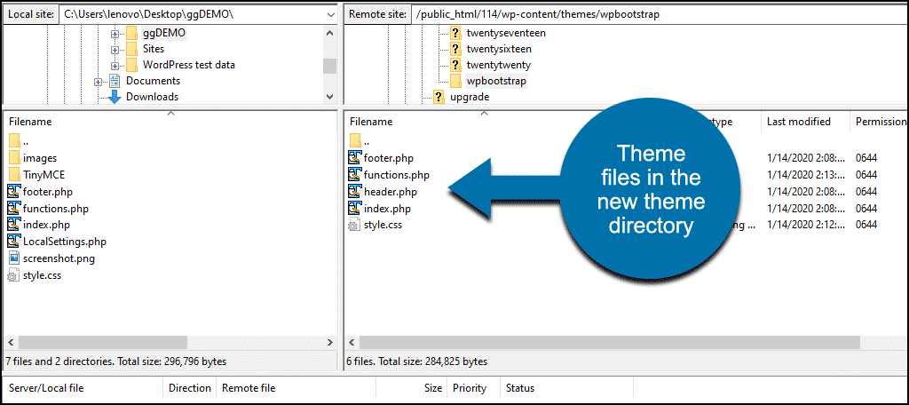 files in the theme directory