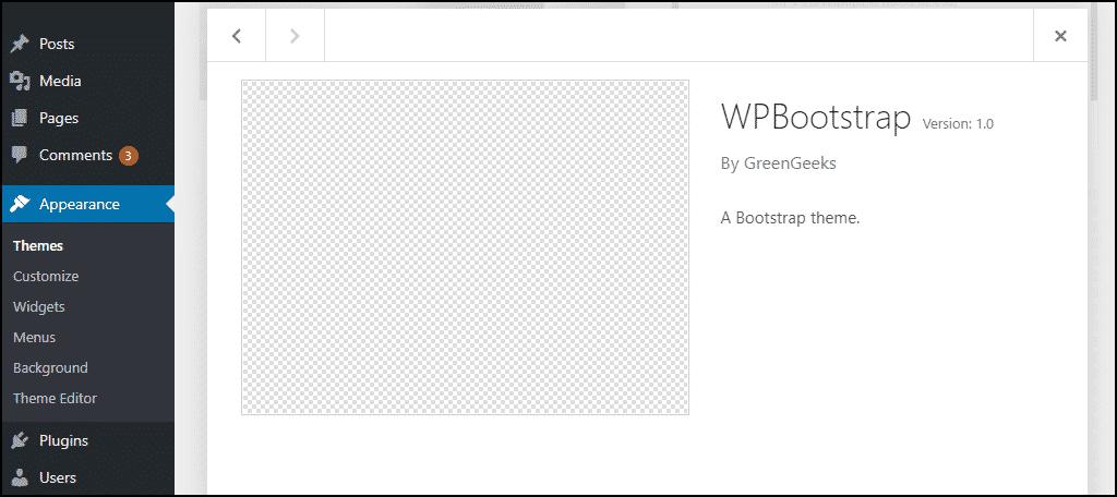 theme in the WordPress dashboard