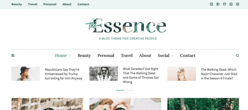 Essence feminine magazine themes for wordpress