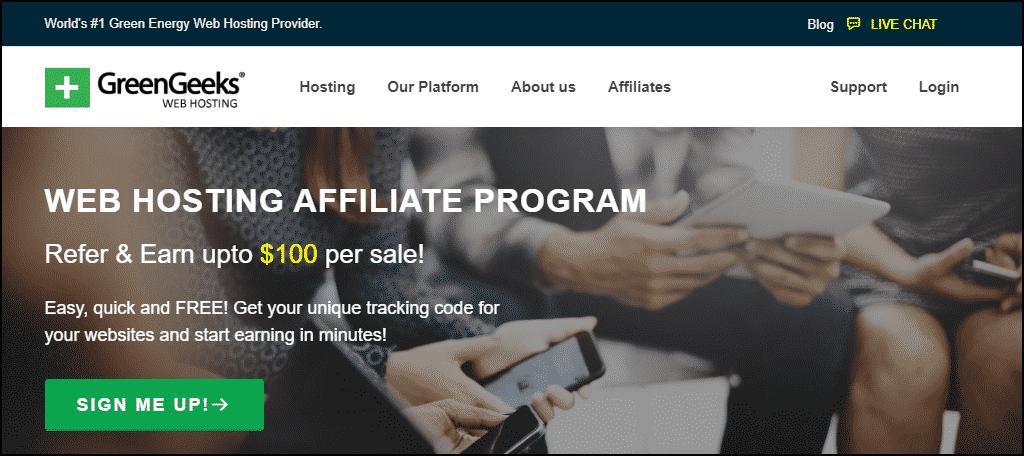 GreenGeeks Affiliates website