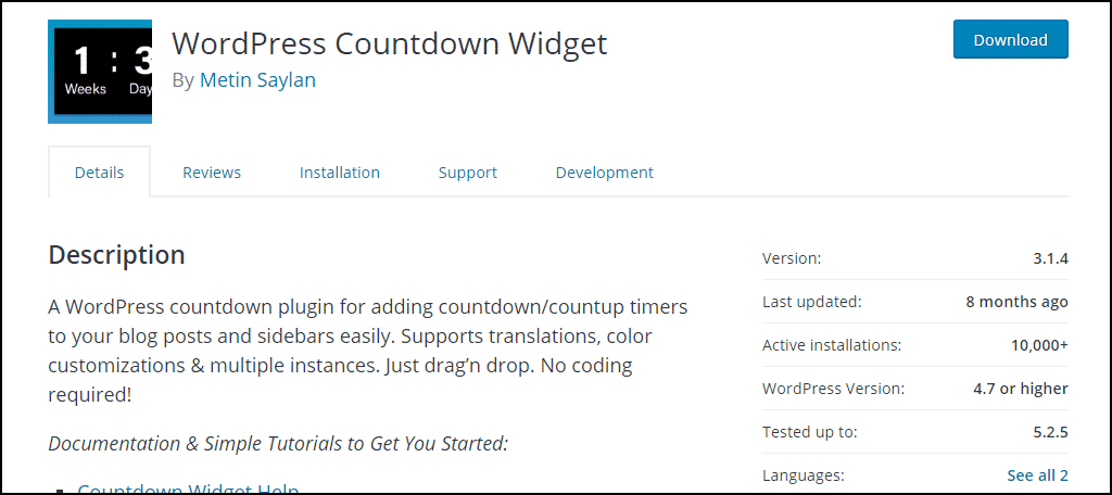 WordPress Countdown Widget plugin