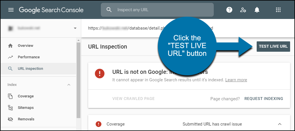 "click the ""TEST LIVE URL"" button"