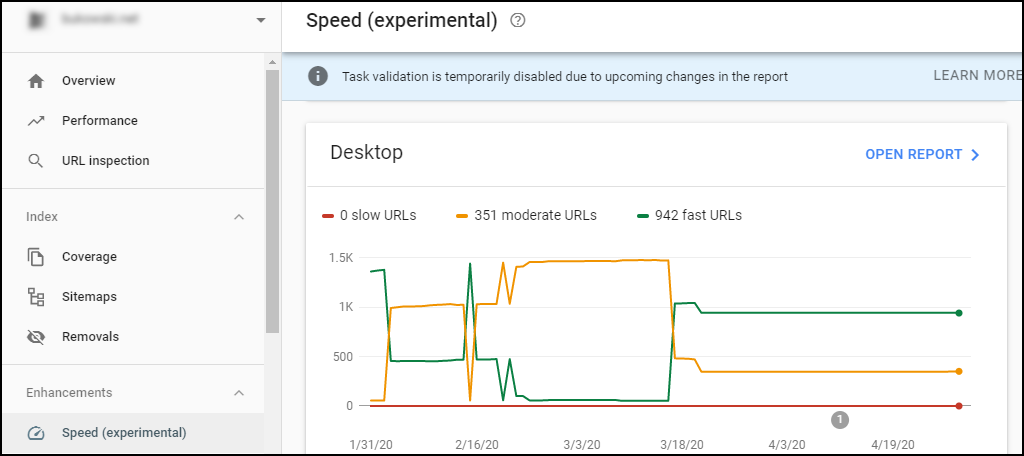 search console speed graphs
