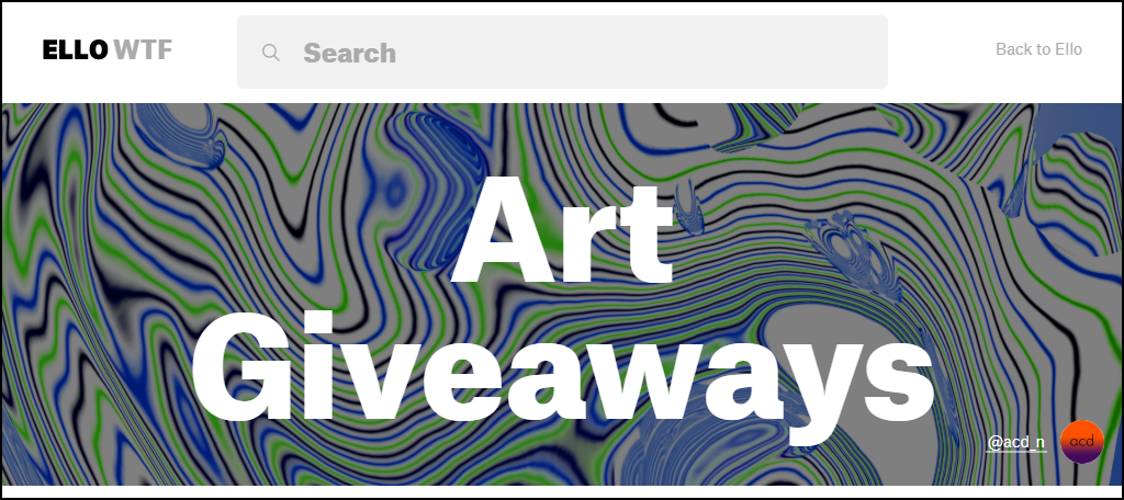 Ello art giveaway page