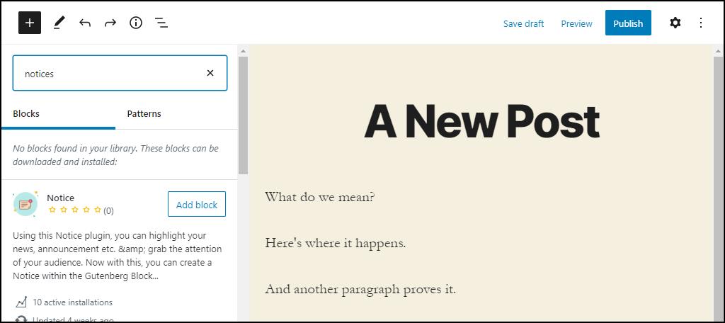 WordPress 5.5 block directory listings