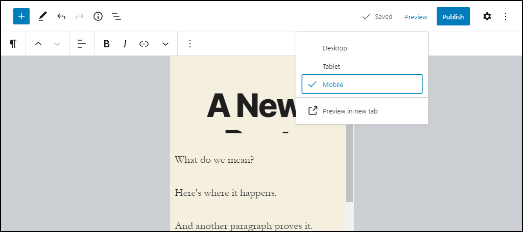 WordPress 5.5 mobile preview
