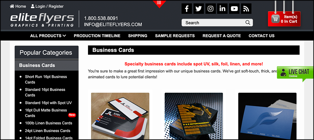 Elite Flyers online business card printing services
