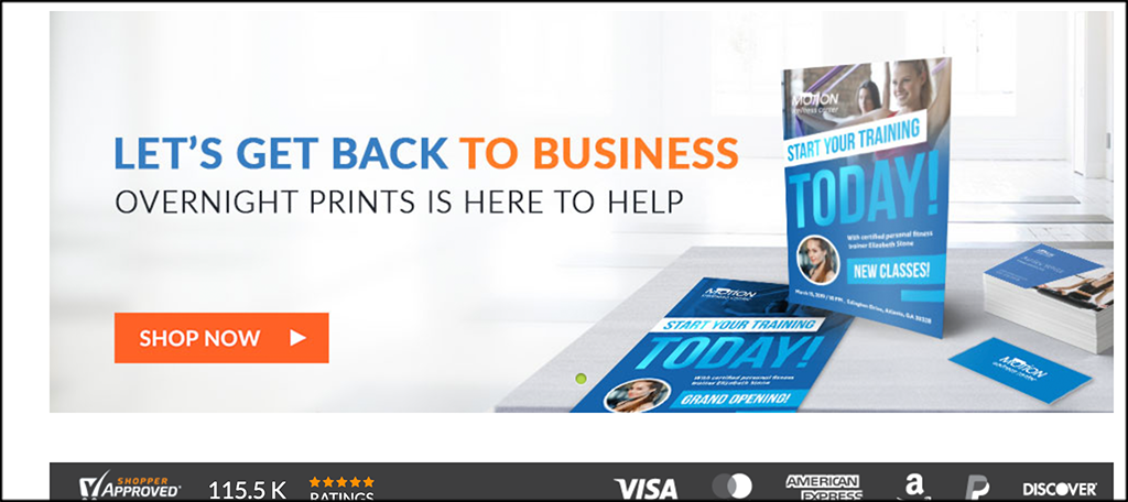 Overnight Prints online business card printing services