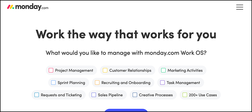 MOnday.com online collaboration software