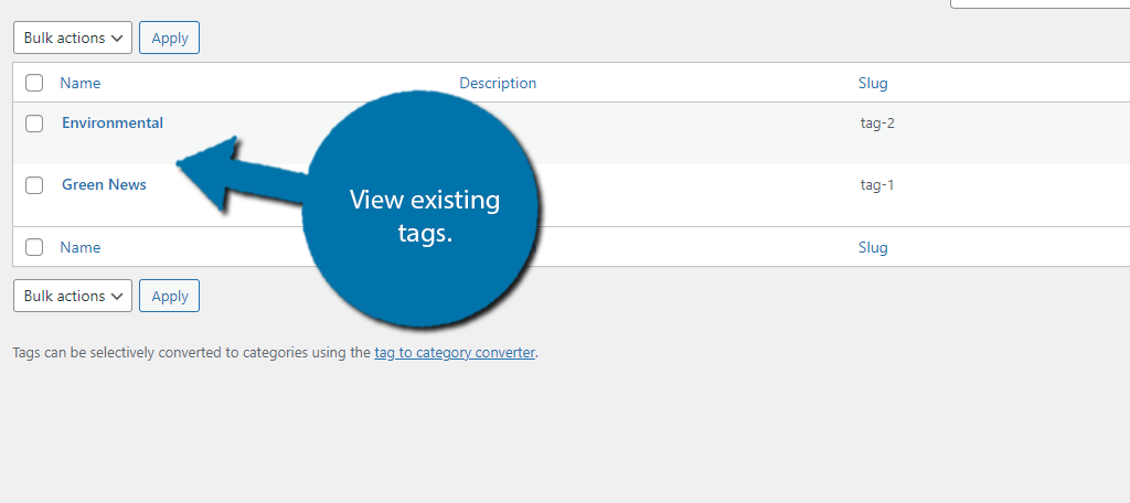 Existing Tags