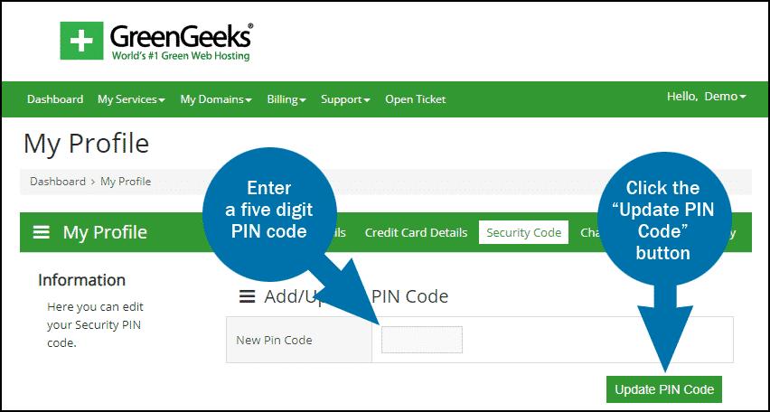 GreenGeeks dashboard PIN step 2