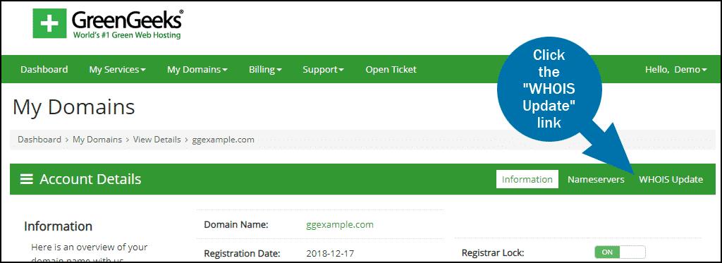 GreenGeeks dashboard domains ID Protect step 1