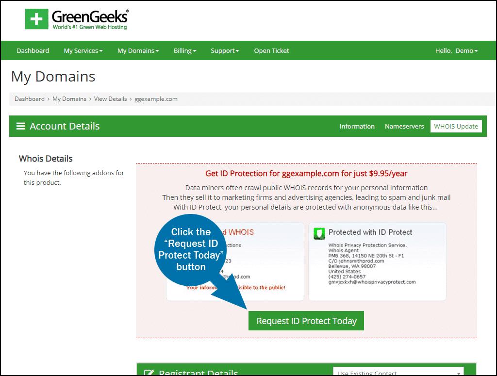 GreenGeeks dashboard domains ID Protect step 2
