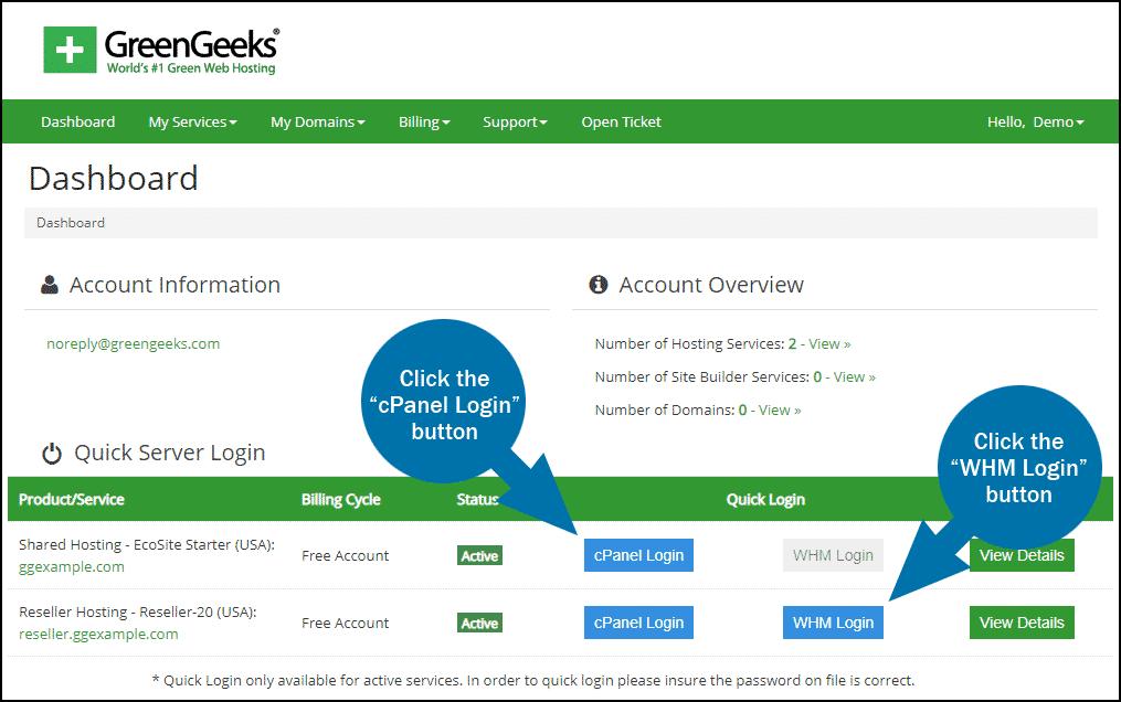 GreenGeeks dashboard quick server login